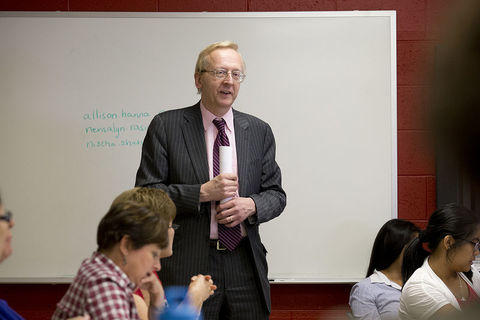 William Parshall in front of a class
