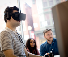 Student with a VR headset