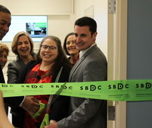 Ribbon cutting ceremony at the SBDC